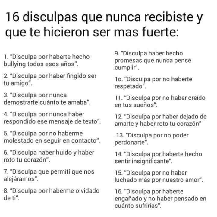 16 disculpas