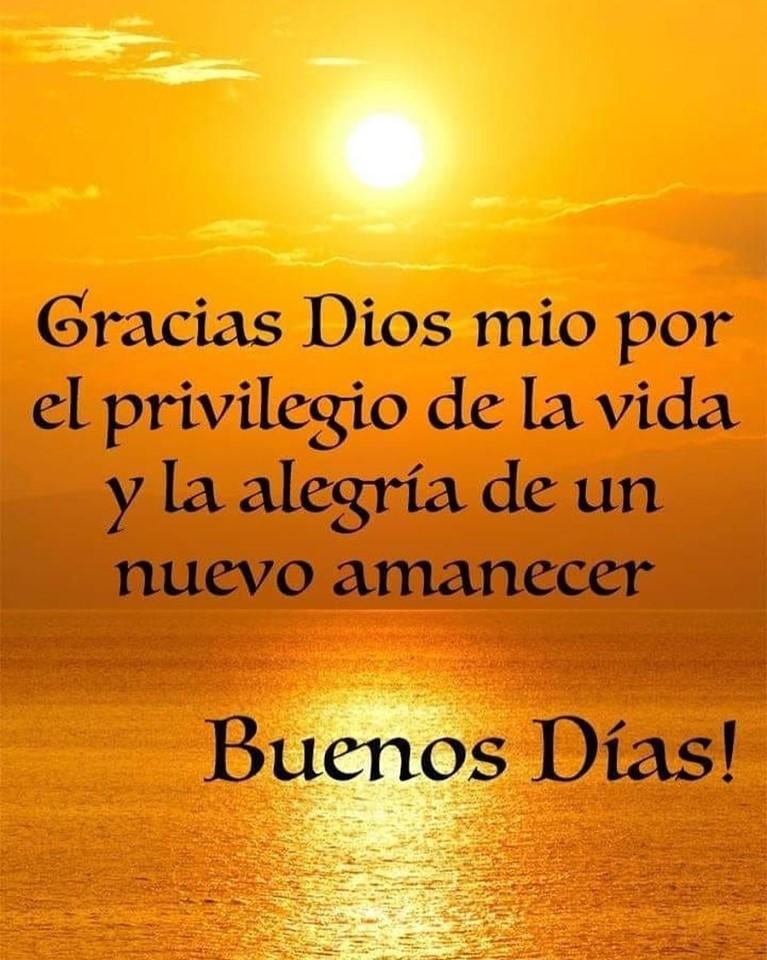 Gracias Dios mio por el privilegio de la vida y la alegría de un nuevo amanecer Buenos Días!