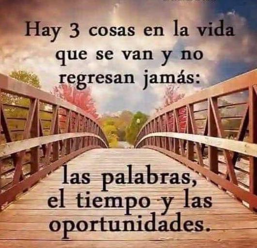 Hay 3 cosas en la vida que se van y no regresan jamás; as palabras; el tiempo y las oportunidades