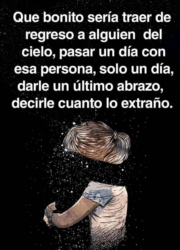 Que bonito sería traer de regreso a alguien del cielo, pasar un día con esa persona, solo un día, darle un último abrazo, decirle cuanto lo extraño.