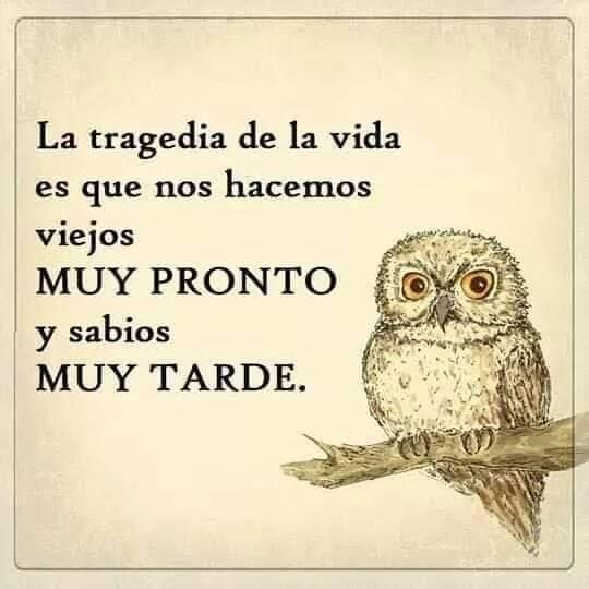 La tragedia de la vida es que nos hacemos viejos MUY PRONTO y sabios MUY TARDE