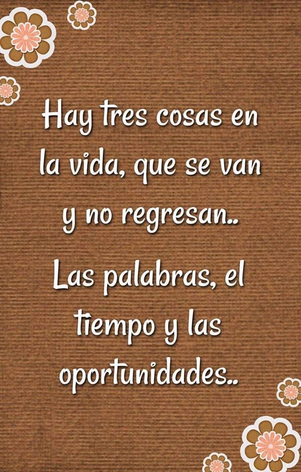Hay tres cosas en la vida, que se van y no regresan... Las palabras, el tiempo y las oportunidades...