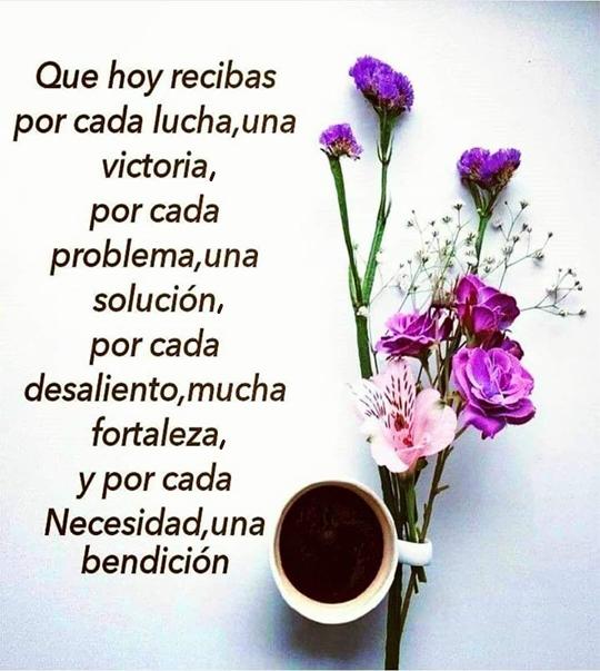 Que hoy recibas por cada lucha,una victoria, por cada problema,una solución, por cada desaliento,mucha fortaleza, y por cada necesidad,una bendición.