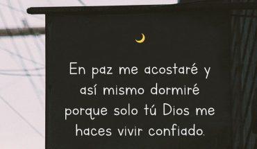 En paz me acostare y así mismo dormiré porque solo tú Dios me hace vivir confiado