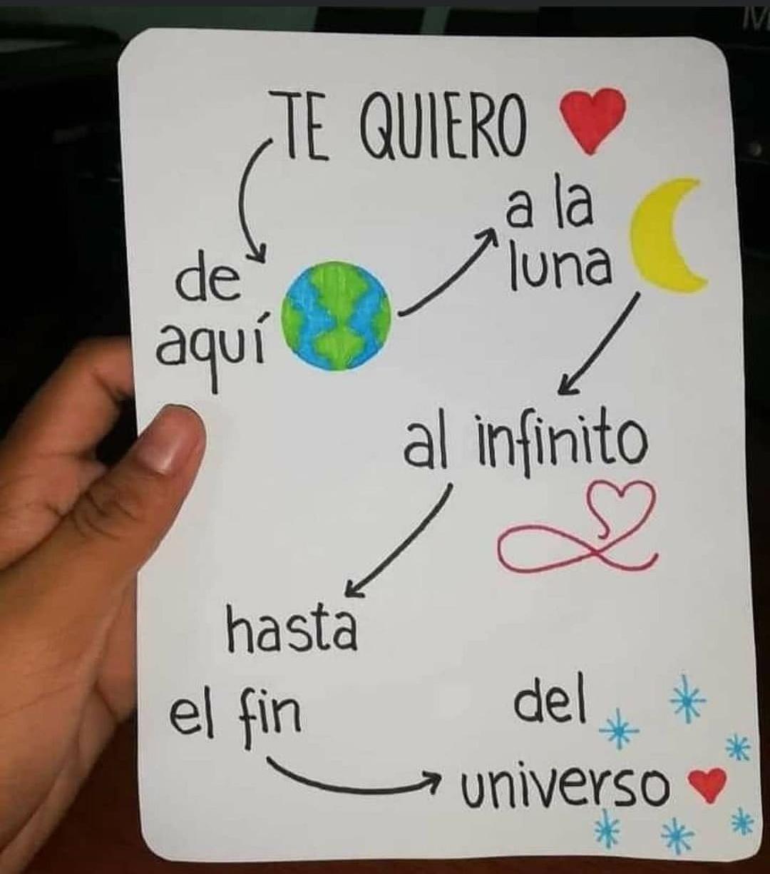 Te quiero de aquí al mundo a la luna y al infinito hasta el fin del universo