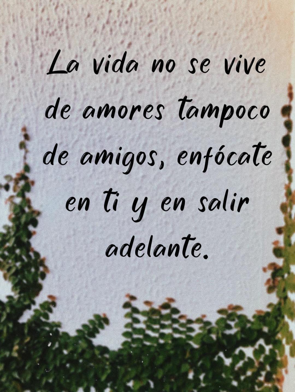 La vida no se vive de amores tampoco de amigos, enfócate en ti y en salir adelante