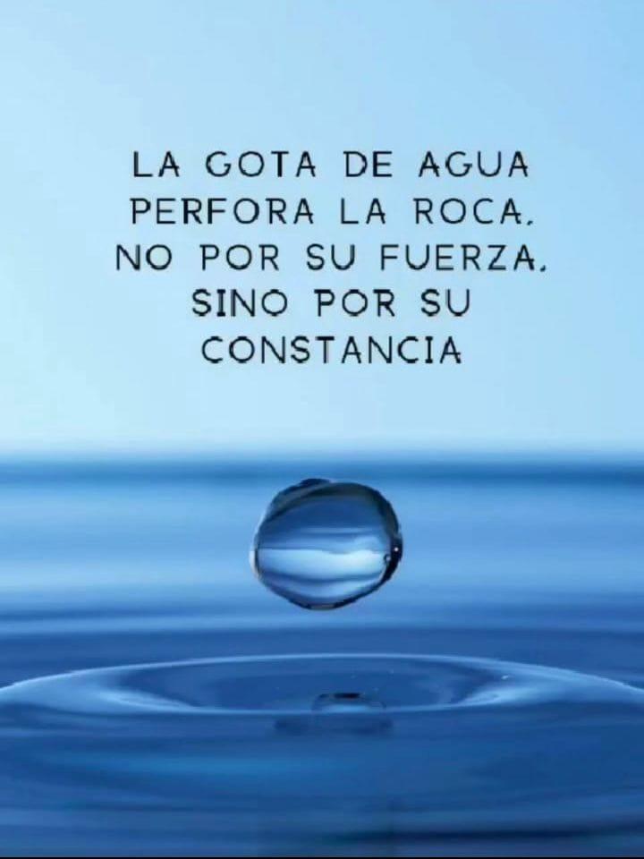 La gota de agua perfora la roca, no por su fuerza, sino por su constancia